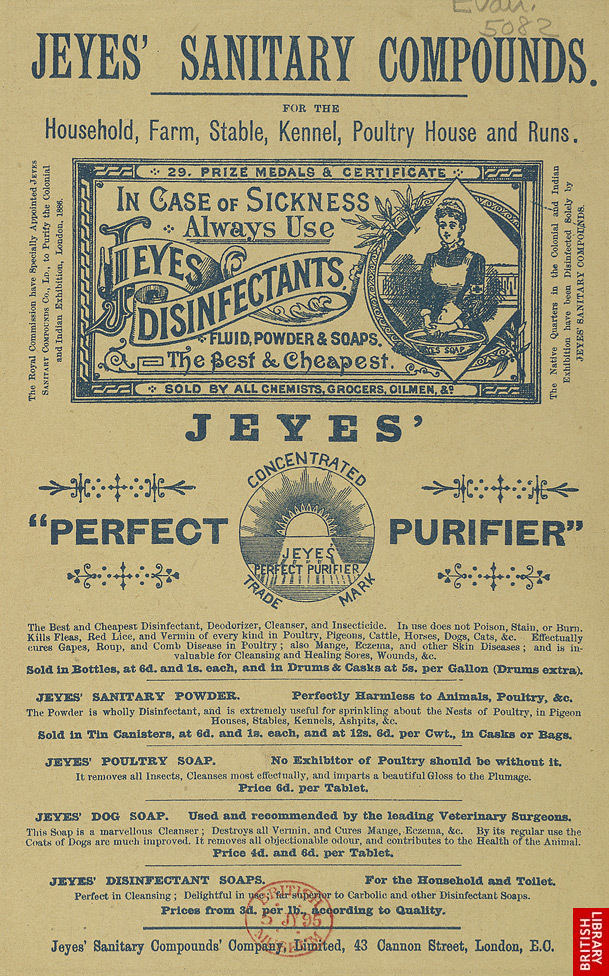 Advert for Jeye's Disinfectants, reverse side